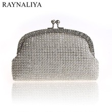 2017 Hot Sale Rushed Bag Women Handbag Bling Ladies Clutches Golden Rhinestone Clutch Evening Metal Mesh Soft Bags Smysfx-f0250