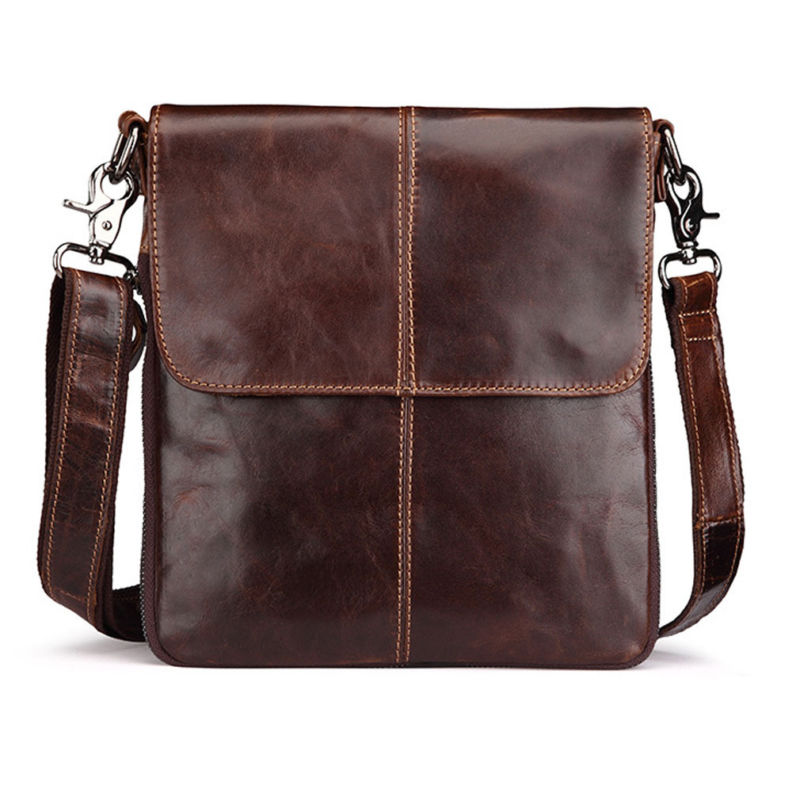 Mens High Quality Genuine Leather Vintage fashion Shoulder Messenger Bag Travel and leisure Business Bags<br>
