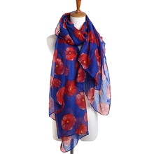 Newly Design Fashion Red Flower Scarf Print Long Scarves Flower Beach Wrap Ladies Stole Shawl Support Drop Shipping 70.8*35.4in