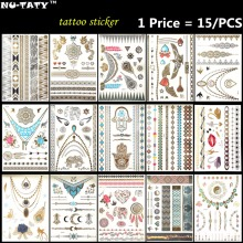 Nu-TATY golden 15PCS/lot woman Temporary Tattoo Body Art Flash Tattoo Sticker 21*15cm Waterproof Tatto Henna Fake Tatoo Selfie(China)