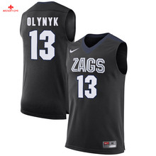 Free shipping Nike 2017 Gonzaga Bulldogs Olynyk 13 Can Customized Any Name Any Logo Limited Ice Hockey Jersey - White(China)