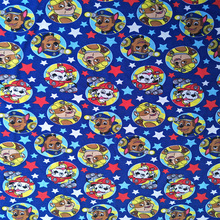 180cm Width Paw Patrol Police Dog Firehouse Dog Blue Knitted Cotton Fabric for Baby Boy Clothes Sewing Patchwork DIY-AFCK246(China)