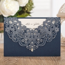WISHMADE Personalized Printed Laser Cut Paper Invitation Wedding Cards 50pcs Free Shipping Navy Blue Invitations Envelope AW7513(China)