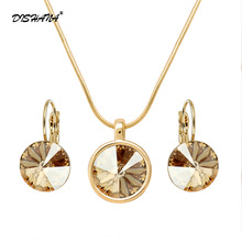 Fashion Jewelry Sets Bridal 12mm Austrian Crystal Necklace Set for Women Stones Earring Jewellery Parure Bijoux Femme(JS0048)