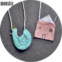 Monsisy Cute Children Handbag For Girl Shoulder Bag Cartoon House Goose Baby Coin Purse Children Wallet Canvas Kid Messenger Bag