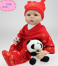 Lovely Handmade 22 Inch NPK Real Silicone Doll Reborn Wearing Chinese Traditional Red Dress Real Doll Baby For Gifts Brinquedos