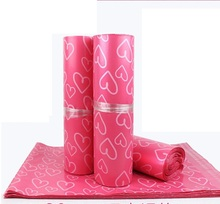 Alice,100pcs/lot New Arrival Pink Love plastic gift bag packing ,Self Adhesive Seal mailing bags,express bags
