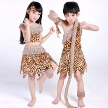 Halloween Costume Adult Child Savage Performance Costume Hunter Dance Savage Clothing African Indians Leopard Print(China)