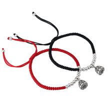 Handmade 925 Sterling Silver Lotus Seedpod Pendant Lucky Red Rope Shamballa Bracelet Bangle 1559(China)