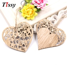 12PCS/Lot DIY Hollow Heart Wooden Pendants Ornaments Party Gifts Home Decor Wedding/Christmas Party Decorations Kids Gift(China)