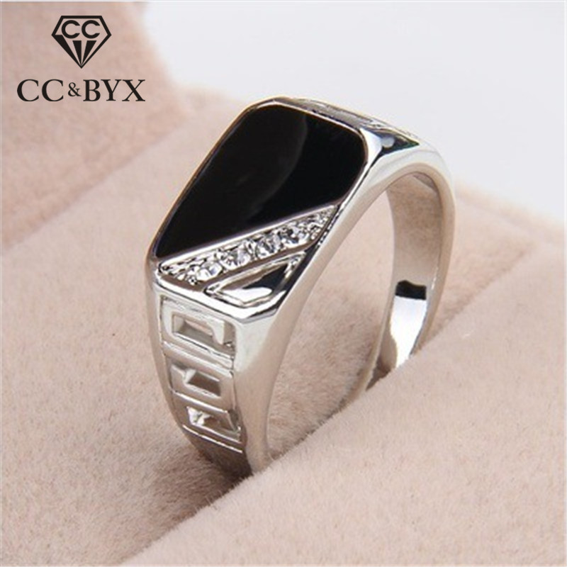 CC Rings For Men Classic Luxury Square Fashion Dripping Oil Ring Cubic Zirconia Bridegroom title=