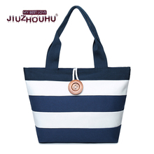 Cotton canvas tote bag women shoulder bags horizontal strip handbag female purse ladies handbags big shipping bag de shopper bag(China)