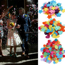 Round Star Heart Multi-Coloured Tissue Paper Rainbow Circles Confetti/Favor Wedding marriage petal polychrome romantic poetical(China)