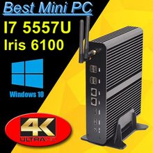 5th Gen Broadwell Mini PC i7 5557U i7 4558U Graphics Iris 6100 5100 Windows 10 Fanless Computer TV Box 4K HTPC 2 HDMI 300M Wifi