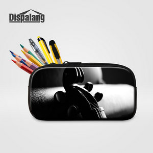 Dispalang Women Cosmetic Case For Traveling Lady Makeup Pouch Music Violin Printing Pencil Case Bag For Children School Supplies