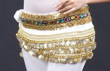 248 Golden Coin Belt Belly Dance Costume Accessories  Velvet Hip Scarf Wrap Waist Band Indian Dancer Red Pink Blue Free Shipping