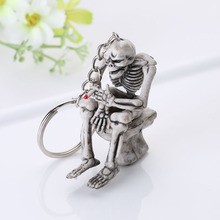 Fashion Skull Toilet Rubber Pendant Keychain Purse Bag Car Charm Keyring Key Chain Cool Gifts For Women Men @CX17