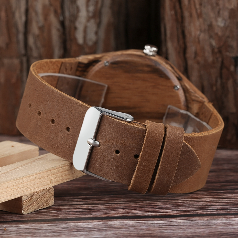 Zebra Wood Watches for Men Fashion Circle Round Japanese Quartz Movement Casual Genuine Leather Wrist Watch Male Reloj de madera 2018 (5)