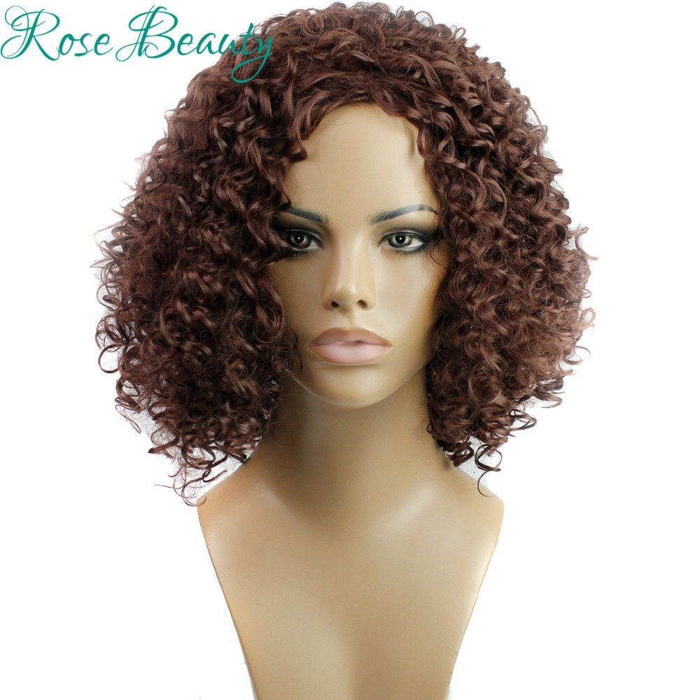 Fashion Natural Black Tight Kinky Curly Short Heat Resistant parrucca Synthetic Hair Women Wigs With Bangs(Dark Brown/Blonde)<br><br>Aliexpress