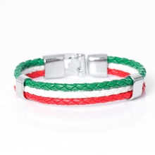 2017 New Fashion DIY Italy Flag Rope Surfer Leather Bracelets Casual Multilayer Bandage Charm Friendship Men's Bracelet.