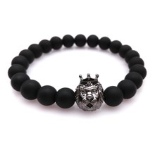 2016 New Fashion Men's Bracelet Beaded Charm Lucky Lion Bracelets for Women High Quality 8MM Matte Natural Stones Bracelet