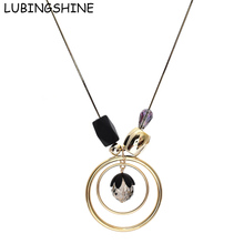 LUBINGSHINE Jewelry Long Chain Necklace For Women Gold Color Round Circle Necklaces Pendants Fashion Jewellery Accessories(China)