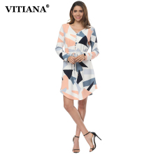 VITIANA Women Spring Casual Dresses Female Geometric Print Long Sleeve Cute Beach Boho Belt Loose Party Short Dress Vestidos(China)