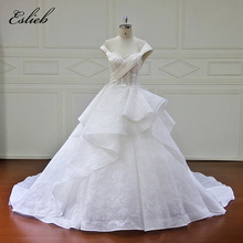 Elegant Boat Neck Sweet Lace Appliques Special Design Wedding Dress Princess Court Tail Zipper Closure Illusion Back Bridal Gown(China)