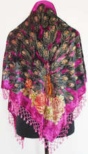 Hot Pink Ladies' Velvet Silk Beaded Scarves Shawls Embroidery Triangle Wrap Vintage Peacock Pashmina 165 x 76 x 76 cm WS005-A