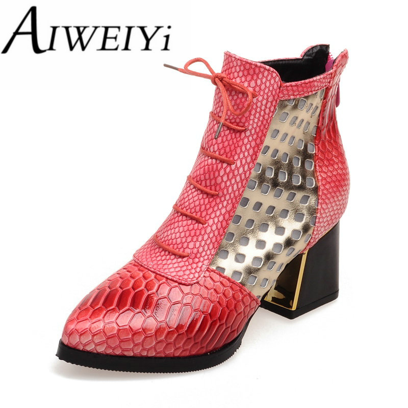 AIWEIYi Big Size 34-43 Snake Print Cross tie Ankle Boots for Women Pointed toe Chunky Heel Short Boots Autumn Winter Boots Shoes<br><br>Aliexpress