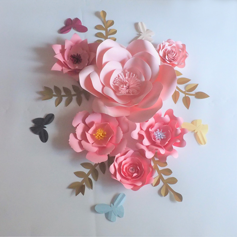 Compre 2018 Diy Artificial Large Paper Flowers Telón De Fondo Leaves