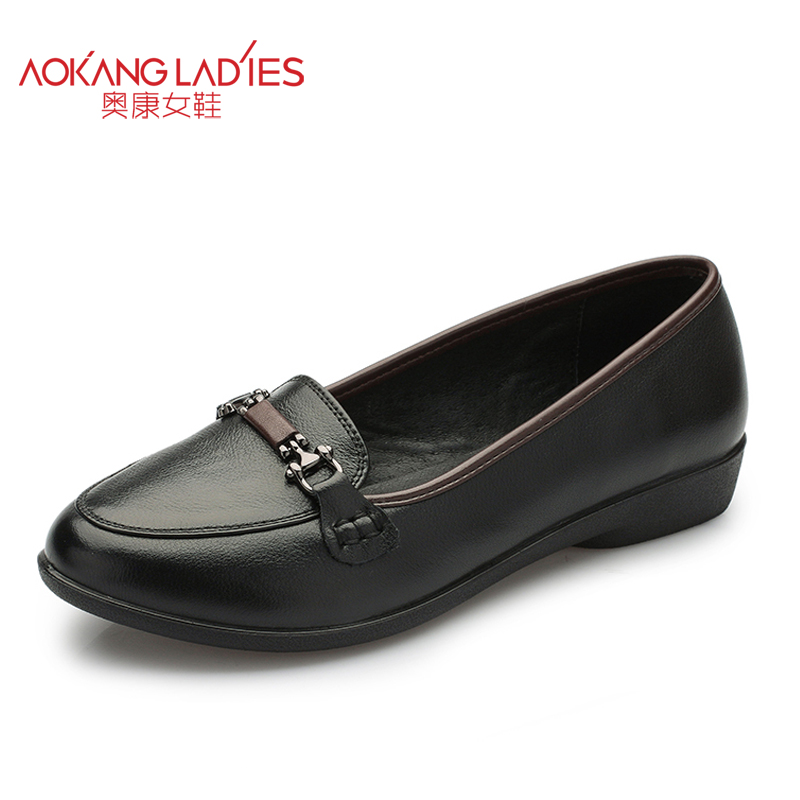 AOKANG 2017 New autumn Arrival Women shoes Classical Metal buckle ladies shoe soft cow leather mothers Flats shoes casual shoes<br><br>Aliexpress