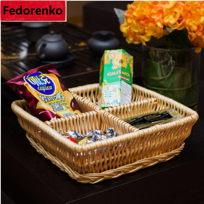 Creative wicker rattan fruit basket craft Plate Dish Snacks keys sundries Storage Tray 4 Lattices box Candy Nuts Trays Food Bowl(China (Mainland))