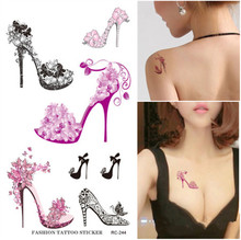 Sexy Body Art Beauty Makeup Pink Sexy Ball Mask Crystal High Heel Tattoo 3D Waterproof Temporary Tattoo Stickers