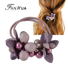 FANHUA New Fashion Plaits Hair Accessories Black Elastic Rope Headbands Colorful Beads Flower Headwear Accessories Women
