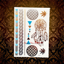 1PC Brand New Gold Dreamcatcher Flash Waterproof Metallic Tattoo HYH043 Women Henna Round Pattern Dream Catcher Designs Tattoo