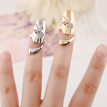 Sweet Dragonfly Flower Design Wedding Jewelry Rhinestone Finger Tip Nail Ring Fashion New High Quality Women Nail Rings