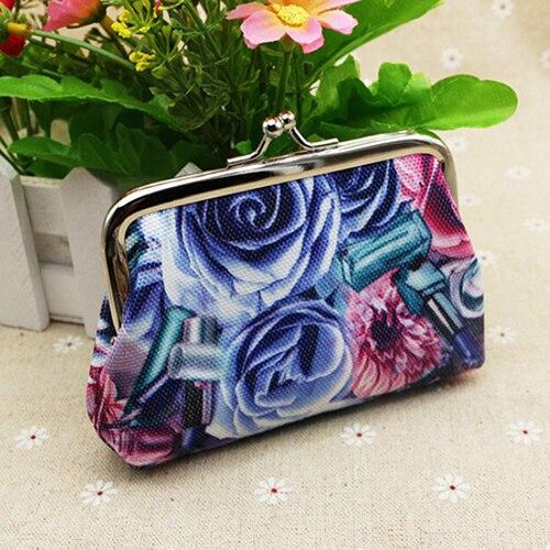 Rose Flower Canvas Wallet Card Case Coin Purse Clutch Handbag Buckle Mini Bag<br><br>Aliexpress