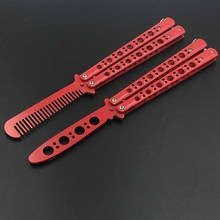 440 C Stainless Steel knife butterfly Practice Butterfly Training Knife Red knife butterfly  Special holes