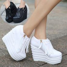 Fashion women 15cm wedges pumps ultra high heels sexy shoes Tassel wedges heels small yards women's tassel casual shoes wedges(China)