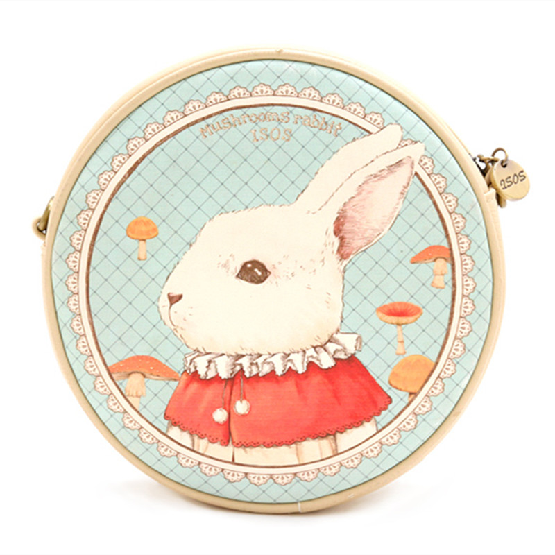 ENSSO New Rabbit Circular Animal Prints Mori Girl  Women Fashion Bags Leather PU Womens Mini Shoulder Messenger Crossbody Bags<br>