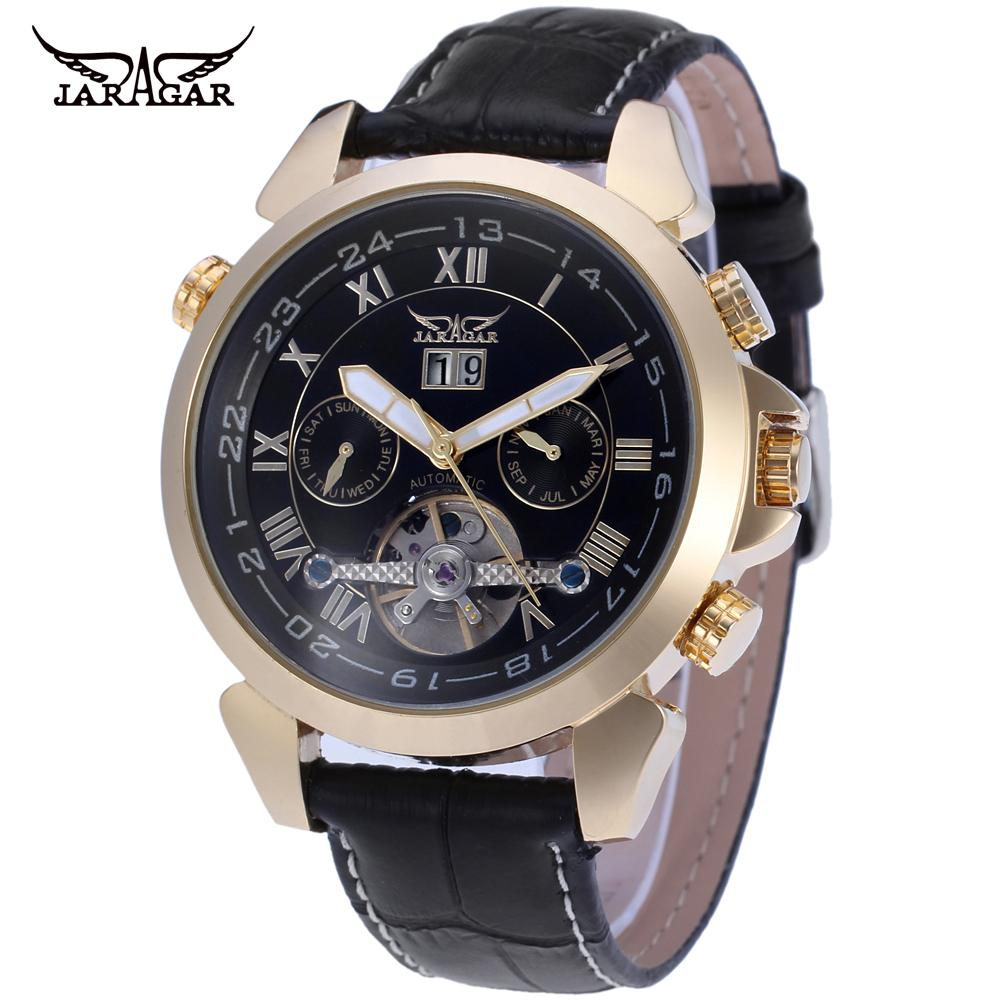 JARGAR Mens watch Vogue Automatic Leather Classic Tourbillion Calendar Analog Wristwatch Color Black JAG057M3<br>