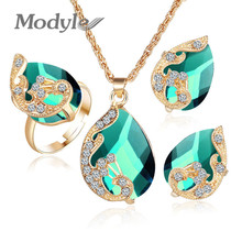 Modyle 2017 New Crystal Peacock Jewelry Sets Bride Wedding Necklace Earrings Adjustable Ring Jewelry Set for Women(China)