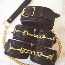 Buy Sex SM Game PU Leather Retro Adjustable Handcuffs Restraints Ankle Cuff Restraints BDSM Bondage Slave Adult Sex Toys couple