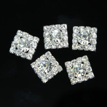 10Pcs Square 13mm DIY Metal Flatback Rhinestone Button For Wedding Embellishment Headband