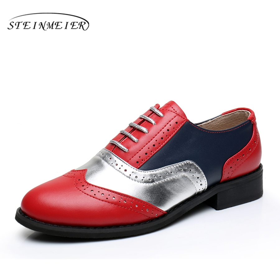 Women Genuine leather Plus size big us 11 oxford shoes Blue red handmade flat red silver oxfords shoes for women with fur<br>