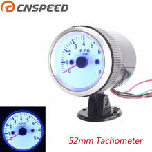 "Free shiping CNSPEED 2"" 52MM Car Tachometer 0-8000 RPM Tachometer Rpm gauge Blue LED Auto Gauge Car Meter(China)"
