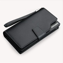 Guality goods leather men wallets purse long leather mens wallet Brand Hand Bag wholesale price D1066-6
