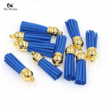 30pcs/lot 38mm Suede Tassel For Keychain Cellphone Straps Jewelry Charms Leather Tassels Plated Gold Caps Diy Accessories OL-18(China)