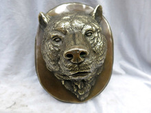 China carved fine brass beautiful wolf sculpture head of a wolf statue